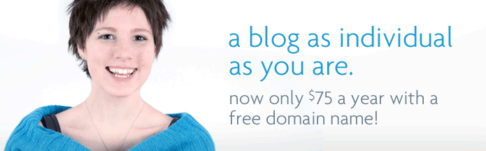 spiffy blog hosting plan.  Now only $75 a year with a free domain name!